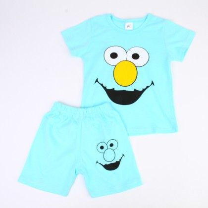 Happy Cartoon Print Top And Shorts Set - Blue - Ton