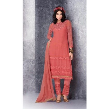 Orange Embroidered Dress Material - Jashn