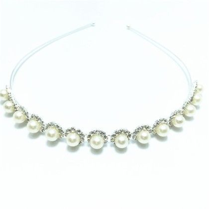 Silver Pearls On Stones Hair Band - Flaunt Chic