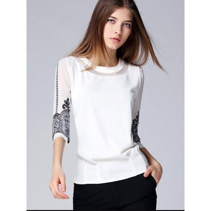 Printed Sleeves Classic Top - Mauve Collection
