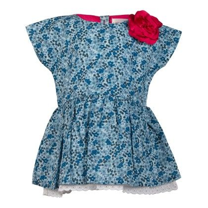 Ditsy Print Top With Lace Peepout-blue - Soul Fairy