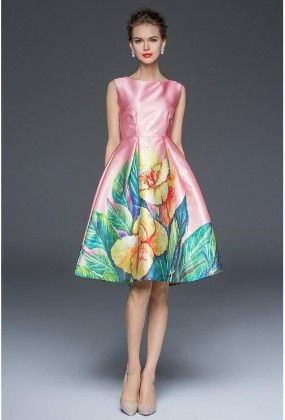 Pink Big Floral Evening Dress - Mauve Collection