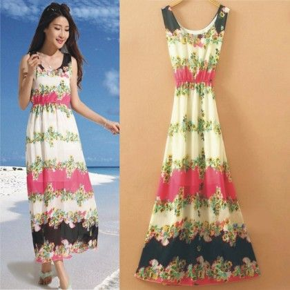 Fuchsia Floral Print Summer Long Dress - Dell's World
