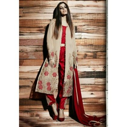 Pret Collection Red & Beige Embroidered Georgette Dress Material - Afreen