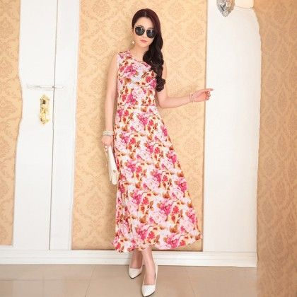 Dainty Floral Print Designer Long Dress - Dell's World