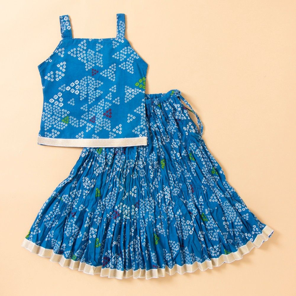 Bandhej Printed Long Cotton Skirt Set - Blue - BownBee