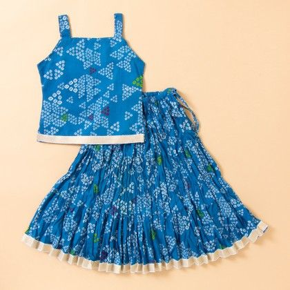 Bandhej Printed Long Cotton Skirt Set - Blue - BownBee