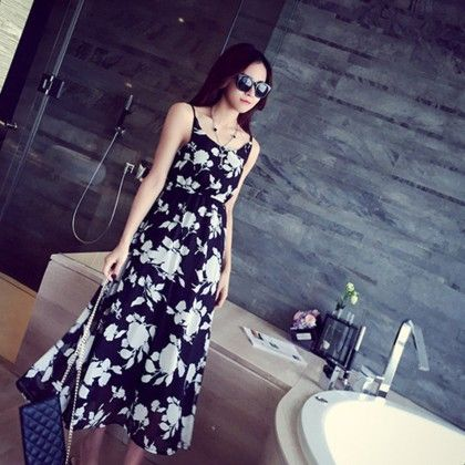 Navy Floral Print Summer Long Dress - Dell's World