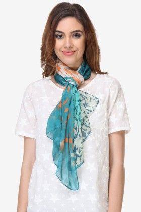 Varanga Printed Sky Blue Chiffon Scarf - Riti Riwaz