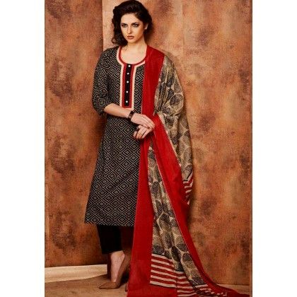 Black & Red Printed Cotton Dress Material - Afreen