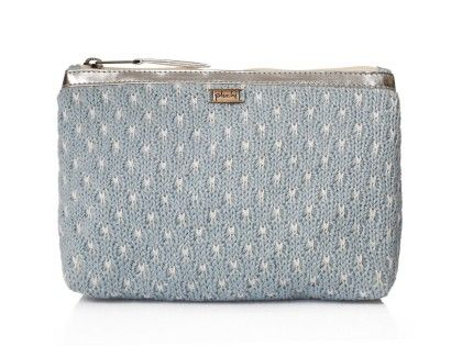 Emily Pouch Sea Blue , Ivory With Silver - Pluchi