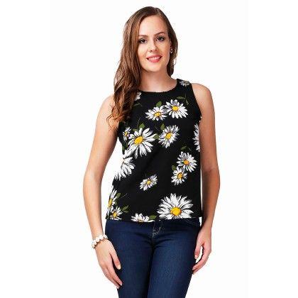 Black Floral Printed Top - Dressvilla