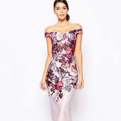 Print Off Shoulder Bodycon Dress - Mauve Collection