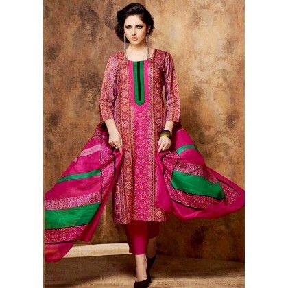 Pink & Green Printed Cotton Dress Material - Afreen