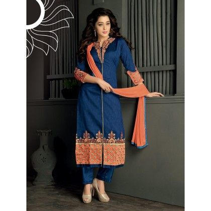 Blue With Gold Embroidered Designer Wear Dress Material With Orange Dupatta - Balloono