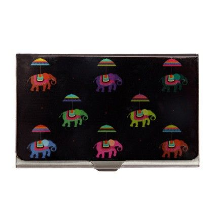 Steel Card Holder Flying Elephants Black - The Elephant Company