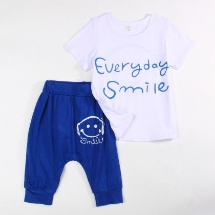 Everyday Smile T-shirt And 3/4th Pant Set - Blue - Xia