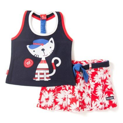 Cat Print Navy T-shirt And Skirt Set - Toys