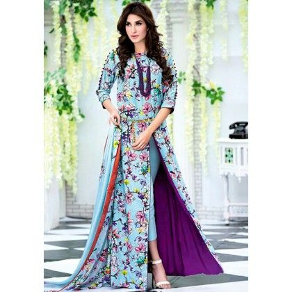 Beautiful Pakistani Style Floral Printed Cotton Dress Material - Blue - Afreen