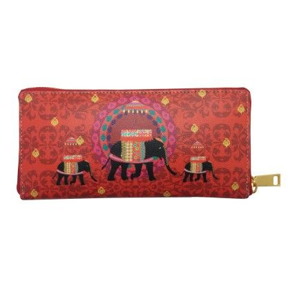 Zipper Wallet Red Elephant Butti - The Elephant Company