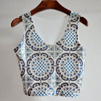 Chic Blue & White Sequinned Crop Top - Fashionistaa 21