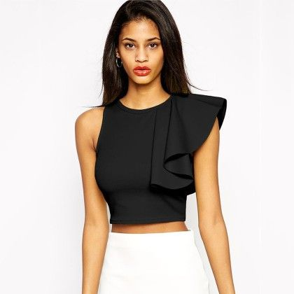 Black Asymmetric Ruffle Top - STUPA FASHION