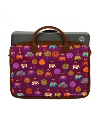 Laptop Bag Plum Elephant Carnival - The Elephant Company