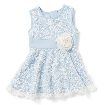 Baby Girls Dress In Light Blue Crepe - Chicabelle