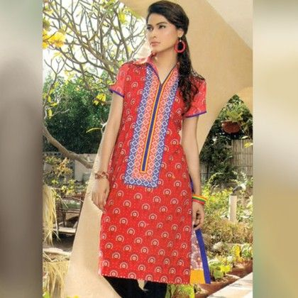 Red And White Unstitched Kurti - Mauve Collection