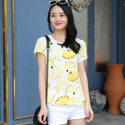 Banana Print Chiffon Top - Dell's World