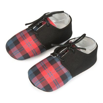 Checks And Lace Unisex Shoes - Red - Jute Baby