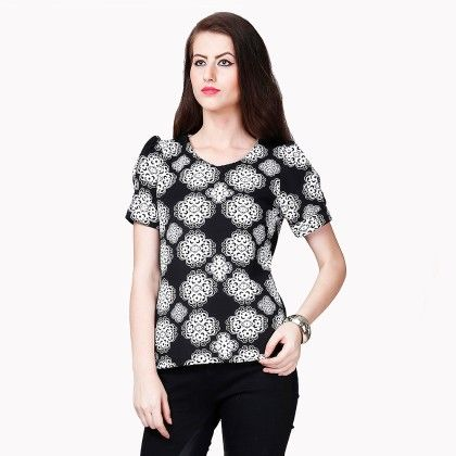 White & Black Printed Top - Dressvilla
