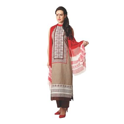 Brown Exclusive Dress Material With All Over Front And Back Multi Design Print With Printed Dupatta - Varanga