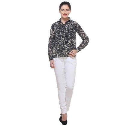 Black And White Print Georgette Printed Shirt - Varanga