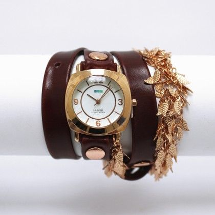 Brown Rose Gold Multi Leaf Chain Watch - Lamer Watches