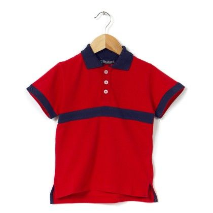 Front Stripe Contrast Collar Polo Red T Shirt - COOL QUOTIENT