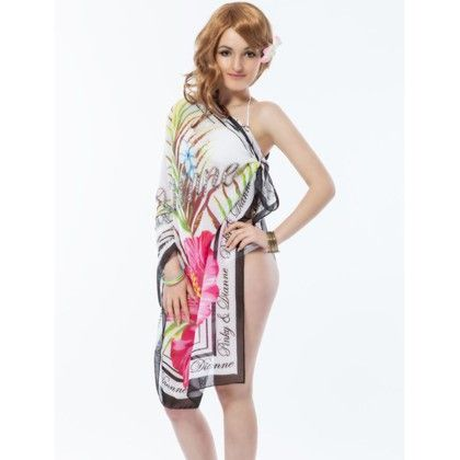Coverup Beach Dress Sarong -white  Long Scarf - Ruby Swimwear