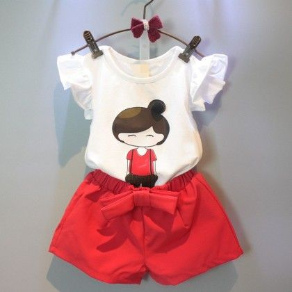Doll Print Top And Shorts Set - Red - Andy