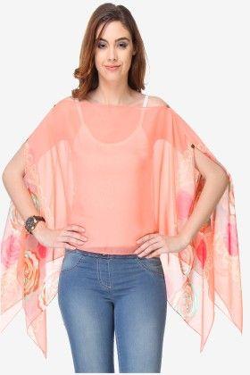 Varanga Printed Peach  Chiffon Butterfly Top