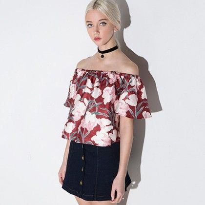 Red Floral Printed Top - Drama Queen
