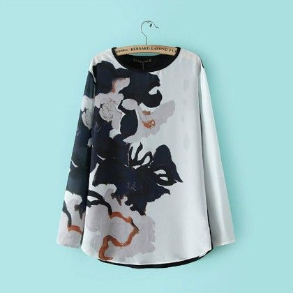 Big Floral Printed White Top - STUPA FASHION