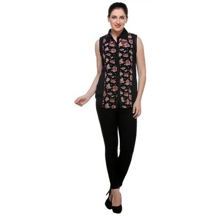 Black Georgette Printed Shirt - Varanga