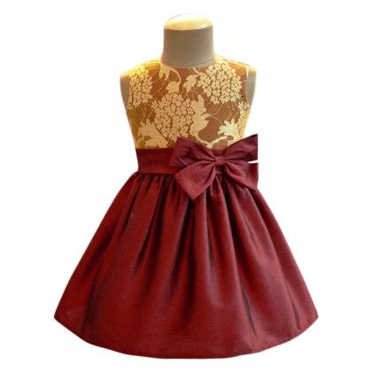 Burgundy Shimmer Lace Overlay Bow Dress - A.T.U.N