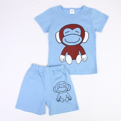 Cute Monkey Print Top & Shorts Set - Light Blue - Ton