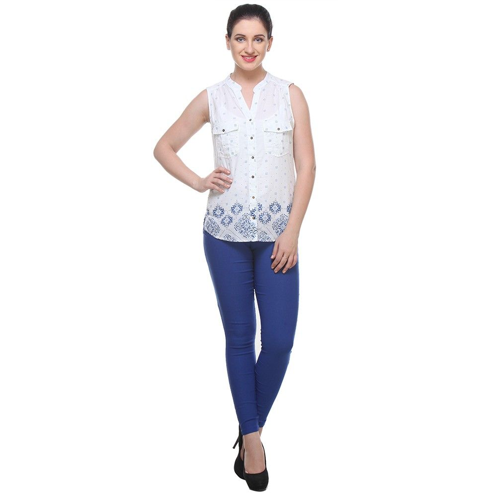 White Cotton Printed Shirt - Varanga