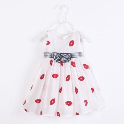 Cute Kiss Print Dress With Bow - White - Catmi