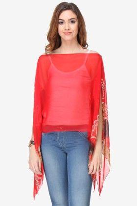 Varanga Printed Red Chiffon Butterfly Top