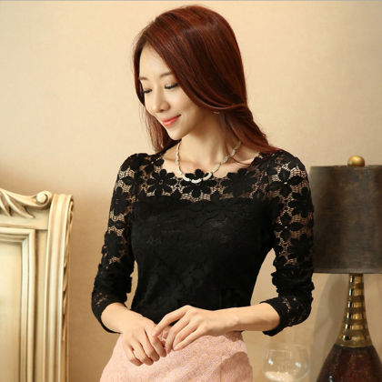 Partywear Lace Top Black - Dell's World