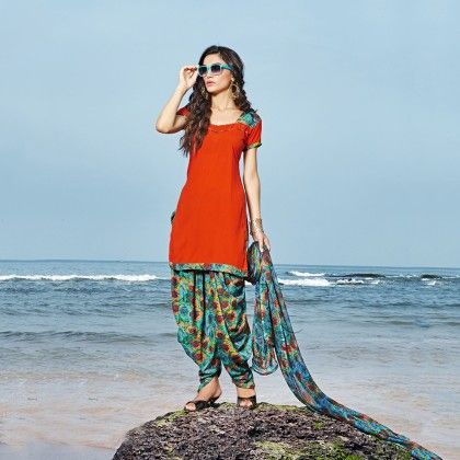Orange With Multicolor Salwal And Dupatta Dress Material - Balloono
