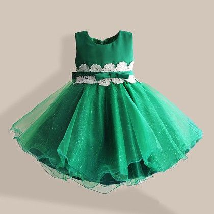 Green Lace Applique Frock - Lil Mantra